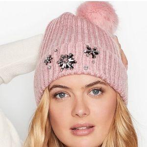 VICTORIA'S SECRET Sparkle Pom-Pom Hat  Rose Bennie